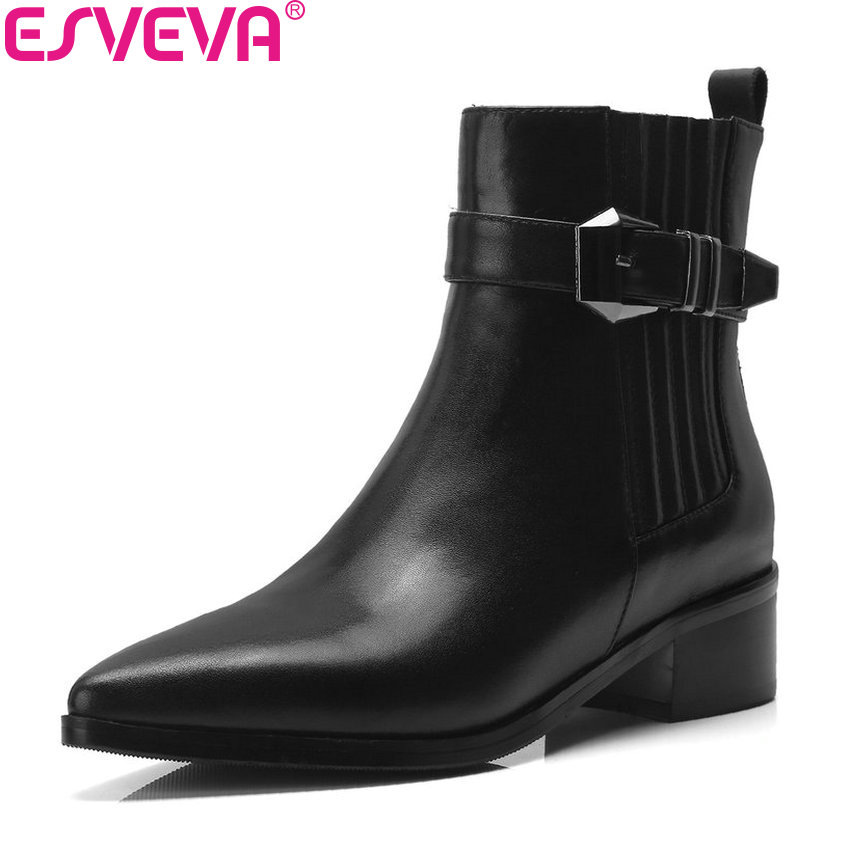 ESVEVA 2019 Women Boots Shoes Buckle Ankle Boots Square Med Heels Solid Concise Pointed Toe Woman Boots Zipper Shoes Size 34-40ESVEVA 2019 Women Boots Shoes Buckle Ankle Boots Square Med Heels Solid Concise Pointed Toe Woman Boots Zipper Shoes Size 34-40