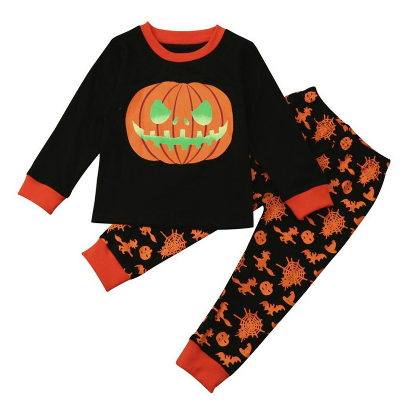 Black Color Fashion Toddler Infant Baby Girl Boy Pumpkin Tops+Pants Halloween Kid Outfits Set Hot 2017 drop shipped ST27