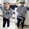 2 pcs Meninos Roupa Criança Crianças Baby Boy Listrado Âncora Tarja de Manga Longa Tops T-shirt + Calças Roupas Marinha Conjunto de roupas