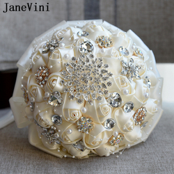 JaneVini 2018 Romantic Ivory Satin Rose Bouquet Handmade Bridal Bouquets for Weddings Beaded Crystal Bride Brooch Accessories