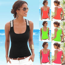 four Colors Summer Style Tank Top sleeveless t shirt Black O-Neck  Printing Vest Tops