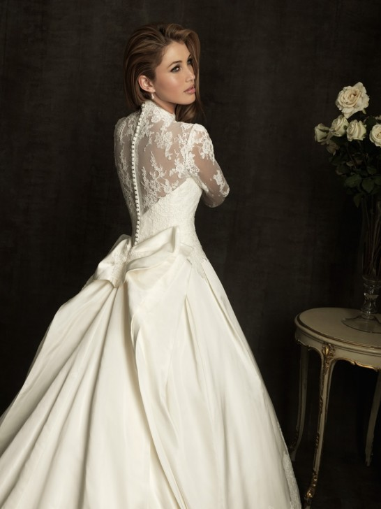 Wedding gowns v neck kate princess long sleeve wedding for Princess catherine wedding dress