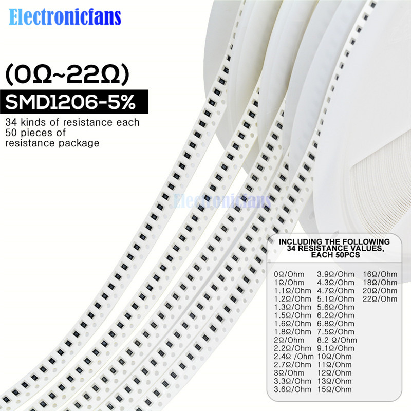 1700PCS/Lot 1206 SMD Resistor 0R -10M Ohm 5% 1/4W 0.25W Chip Resistance Fixed Resistor Assorted Kit 34 Values X 50pcs =1700pcs