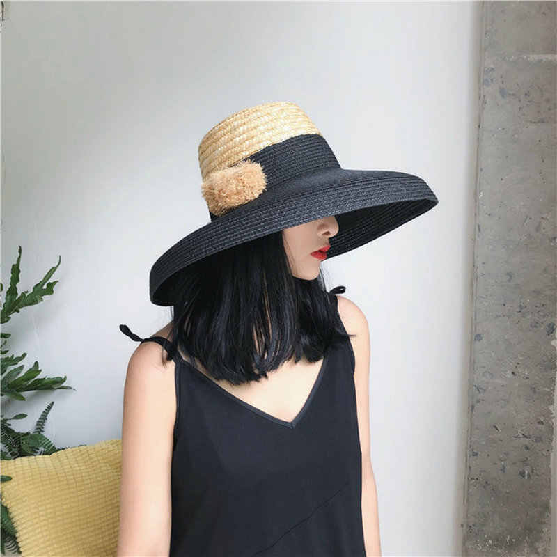 7de894cab8e50c Free Shipping Wide Big Brim Summer Beach Patchwork Wheat Straw Women Sun hat  with Hairball For