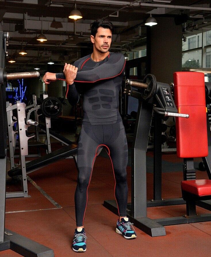 Pánské kompresivní punčocháče T-shirt běžecká jízda na kole Fitness odpaliště s dlouhým rukávem Vlhkost Wicking Rychleschnoucí tričko Set Shirt + Pant