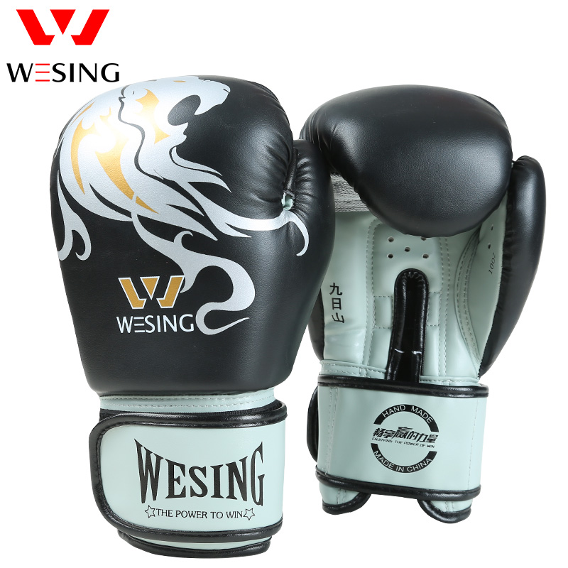 Wesing New Boxing Gloves Lion Pattern Punching Bag Gloves Sanda luva boxe Muay Thai Training Gloves 6 Colors 8 10 12 14oz цена