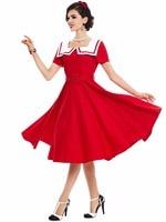 Sisjuly Women Vintage Dress 1950s Style Solid Red Women Retro Dresses Summer Dresses For Women Party