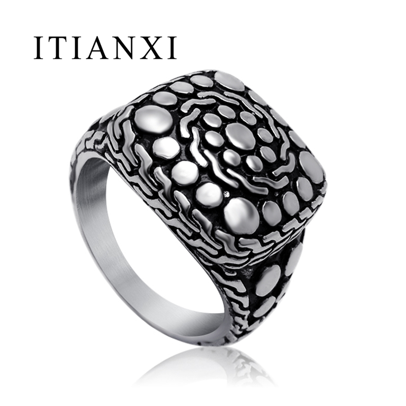 ITIANXI Stainless Steel Ring Jewelry Sterling Jewelry Retro Pebbles Ring Pattern City Fashion Accessories