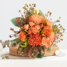 Northern Europe Artificial Silk Plastic Bouquet Modern Holding Fake Flowers Series Wedding Photography Props Decoration