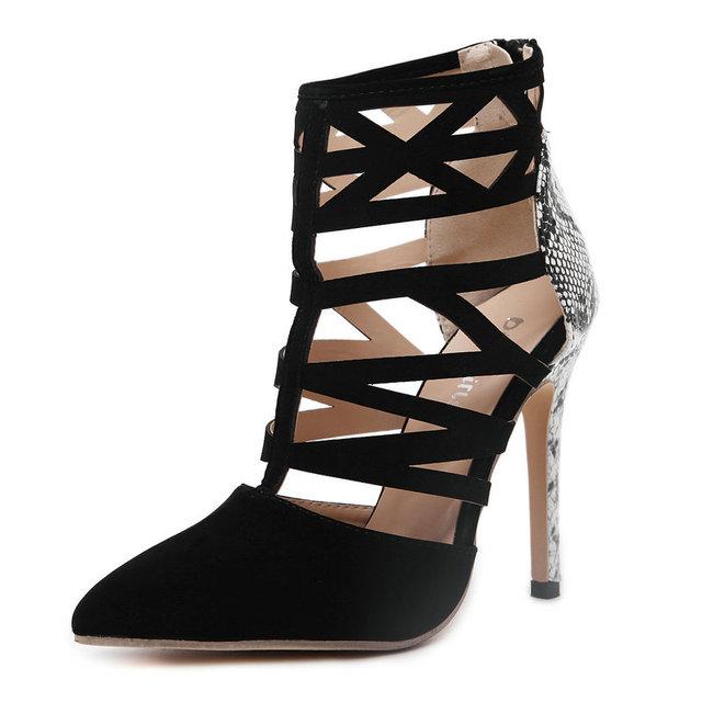 Women Pumps High Heels Shoes Sexy Cut Out Print Roman Zipper Sandals Gladiator Ankle Bootie Stilettos Fashion Party Ladies Shoes