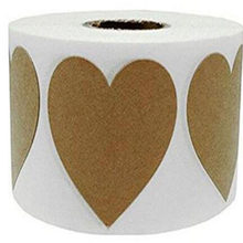 "2019 new trend 500 PCs Per Roll 2"" Natural Brown Kraft Labels Love Heart Stickers Adhesive Label for Gift Bag and Gift Box(China)"