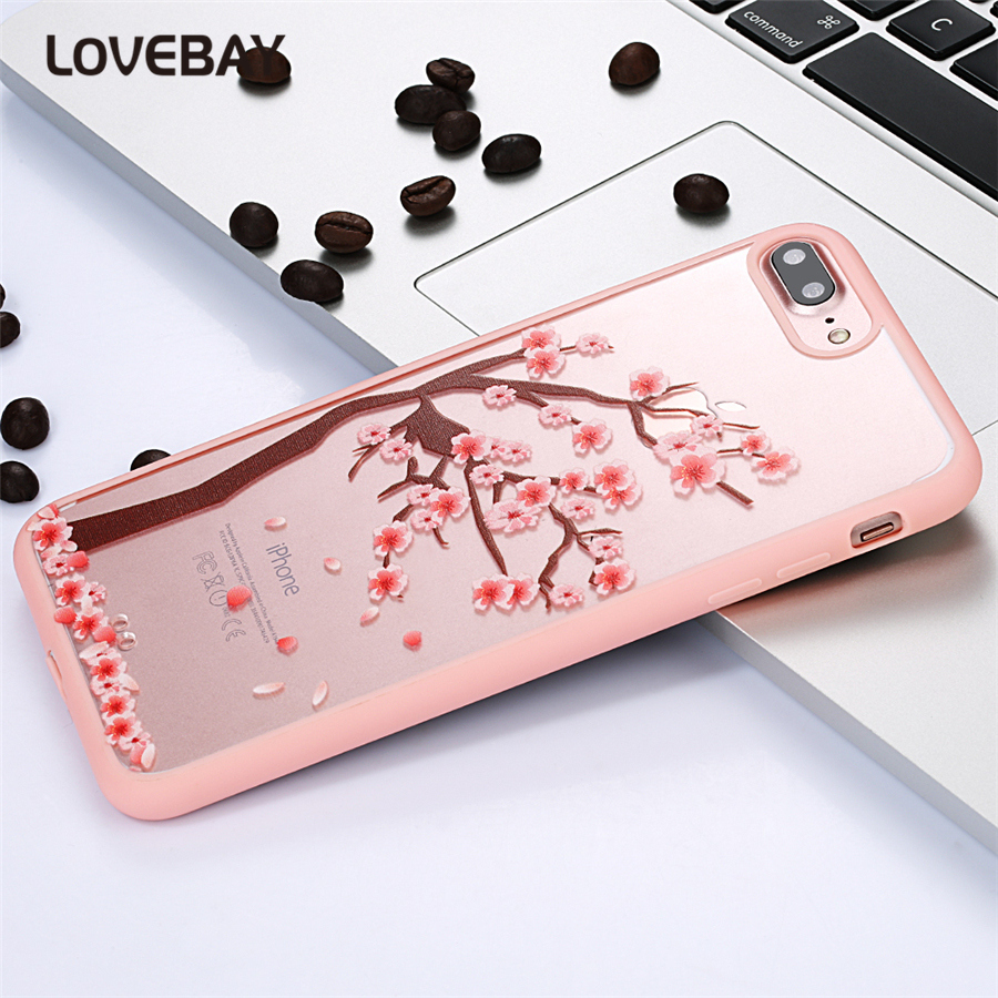 Cartoon Case For iPhone 5s 6 6s 6s Plus 7 7 Plus SE Cat Cherry Tree Flowers Pattern Transparent Acrylic Mobile Phone Case Shell