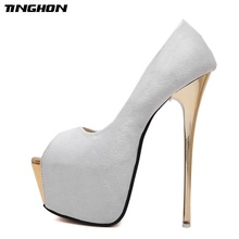 TINGHON Women Pumps high heels Womens Sexy Peep Toe Pumps Platform shoes White Black Pink Wedding Party shoes size 34-45 cocoafoal woamn wedges sandals plus size 32 45 pink high heels white wedding shoes black blue sexy peep toe summer pumps 2018