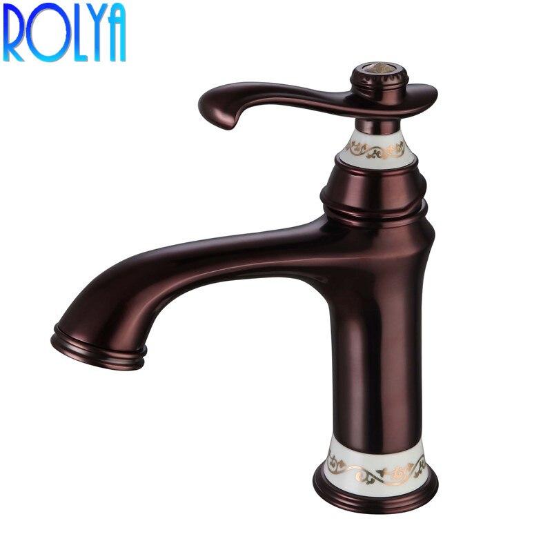 ROLYA précipité 1 trou Antique brun robinet de salle de bain ancien Style traditionnel orbe bassin mitigeur