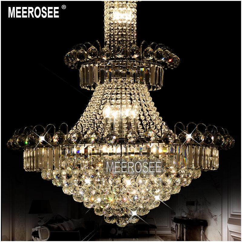 Duży hotelowy srebrny kryształowy żyrandol. Oprawa oświetleniowa - Oświetlenie wewnętrzne - Zdjęcie 3