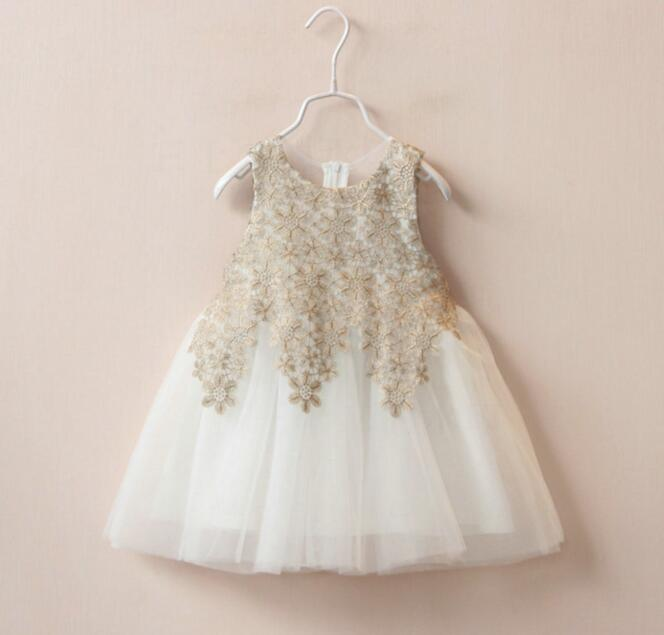 4bec2b29b4f1 Online Shop 2018 Hot Children Lace Appliques Super Beauty Dress Girls Gold/ White Princess Party Dress Baby Sleeveless Gauze Mini Dress | Aliexpress  Mobile