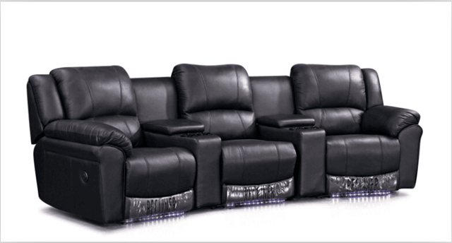 Cinema Chairs Theater With Modern Leather Sofa Recliner Lounge Black