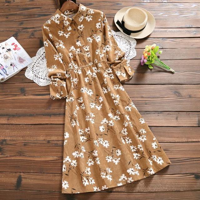 Khaki,Gray Flower Print Vintage Dress New Lady Full Sleeve Floral Printed Long Corduroy Dresses Mori Girl Vestidos Autumn Winter