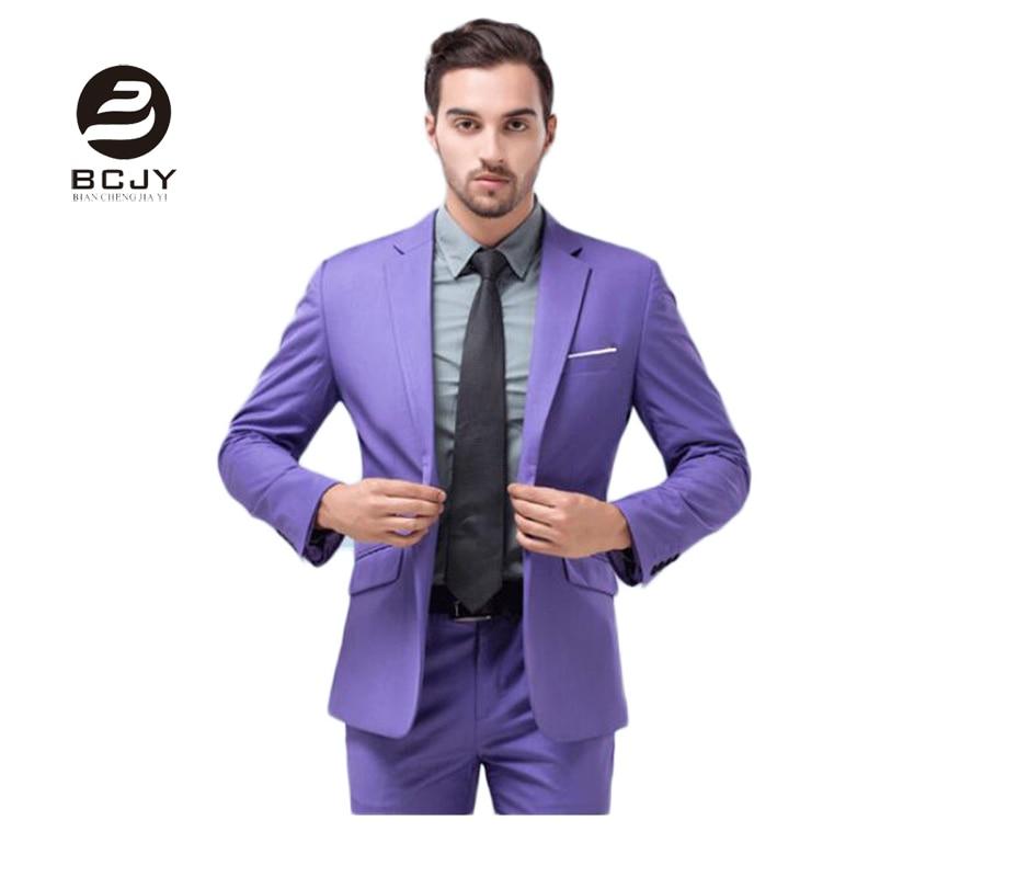 fengjing 2 Pieces Light Purple Men Suits One Button Wedding Suits Peak Lapel Wedding Party Suits (Jacket+Pants+Tie) Custom Groom Suit