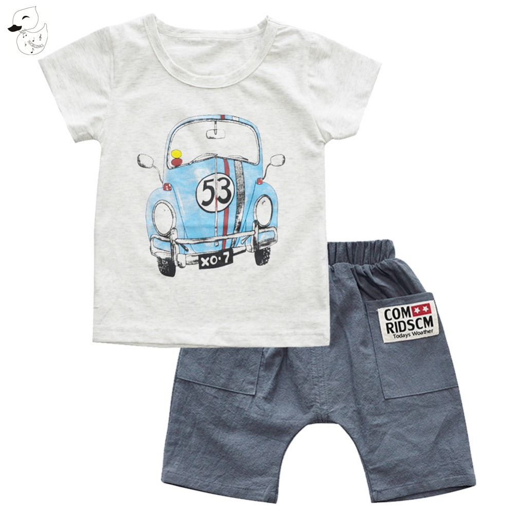 BINIDUCKLING Summer Boys Sets Kids Car Printted t-shirts Boy Cotton t shirt +Shorts Suit Set Children Clothing Kid Clothes sun moon kids boys t shirt summer