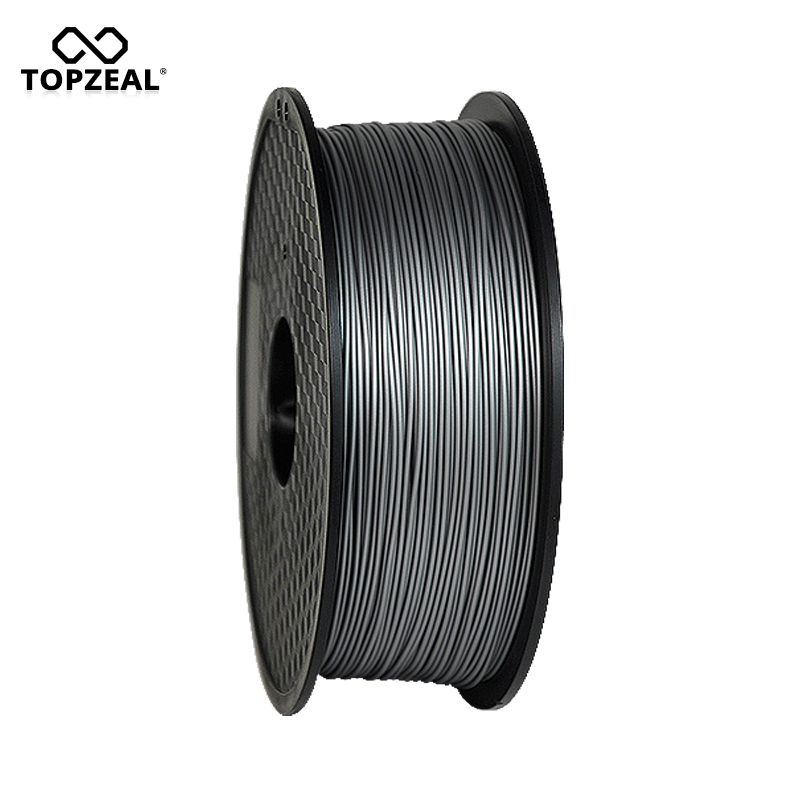 TOPZEAL Silk PLA 3D Printer Filament 1.75mm 1KG Spool 3D Plastic Printing Materials Filament Silvery Color sunlu 3d pla printer filament 1 75mm polycarbonate filament 2 2lbs 1kg spool white color pla filament