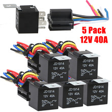 5Pack 12V 40 Amp 5-Pin SPDT Automotive Relay With Wires & Harness Socket Set NEW(China)