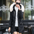 2016 Winter New Fashion Slim Solid Color Long Section Hooded Fur Collar Thicken Causal Women Down Coat