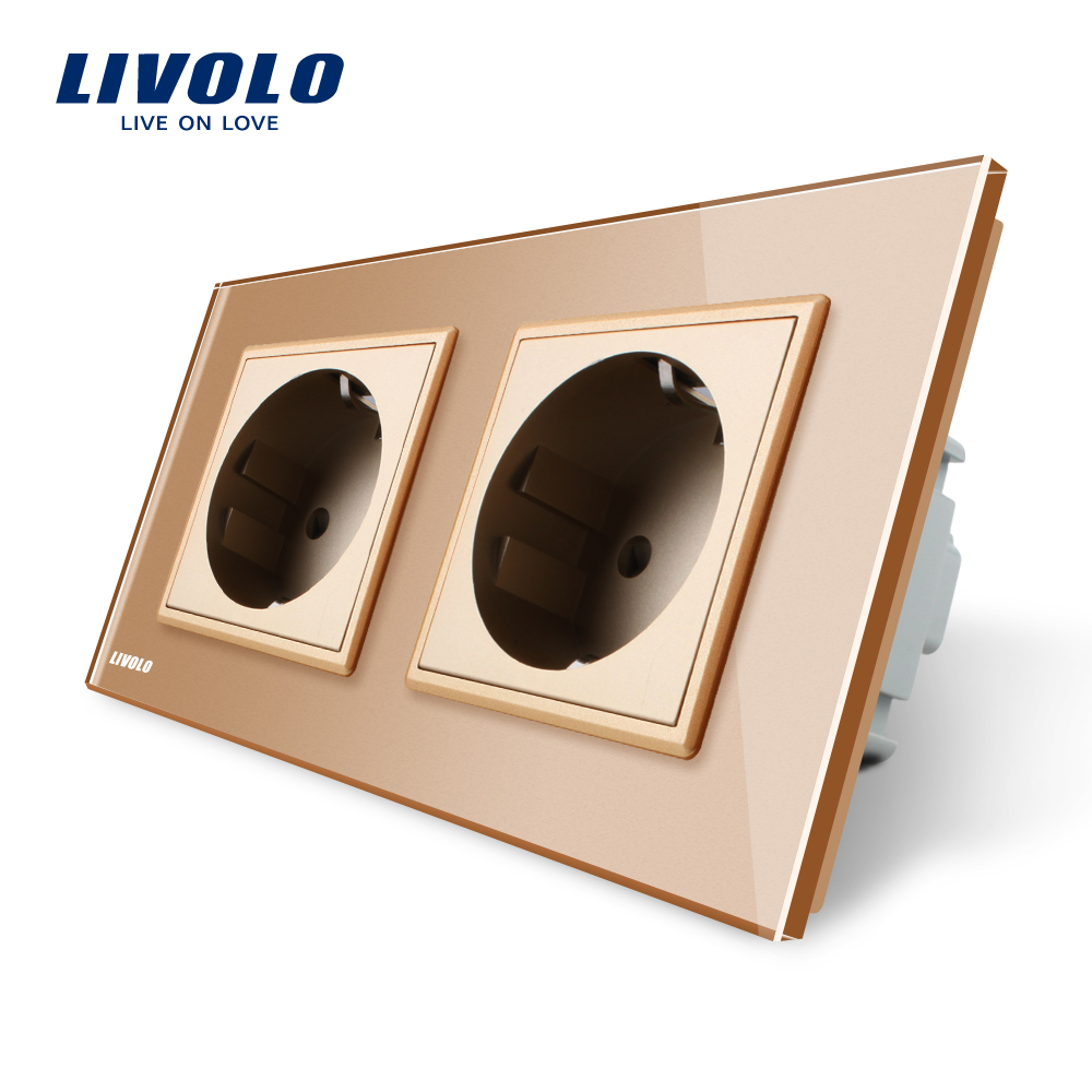 Livolo EU Standard Wall Power Socket, Golden Crystal Glass Panel, Manufacturer of 16A Wall Outlet, VL-C7C2EU-13