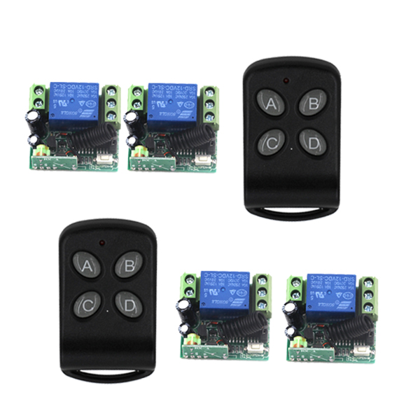 12V 3 Ways Wireless Digital Remote control Switch With 2 Transmitter + 4 receiver 315/433 MHZ, Latch/Momentary/Toggle 4400 remote switch 12v dc rf wireless 4 receiver 3 transmitter lighting digital switch learning code toggle momentary 315 433 92mhz