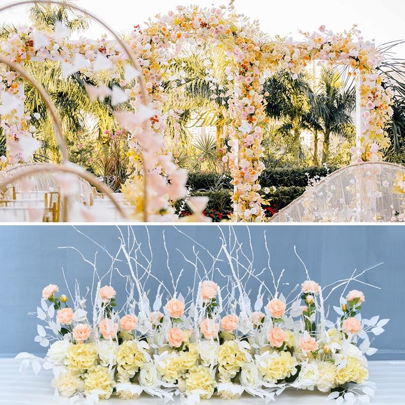 Personnaliser bricolage mariage plume fleurs rangée T scène toile de fond arc décor route plomb Flores artificiel fenêtre affichage fleur mur