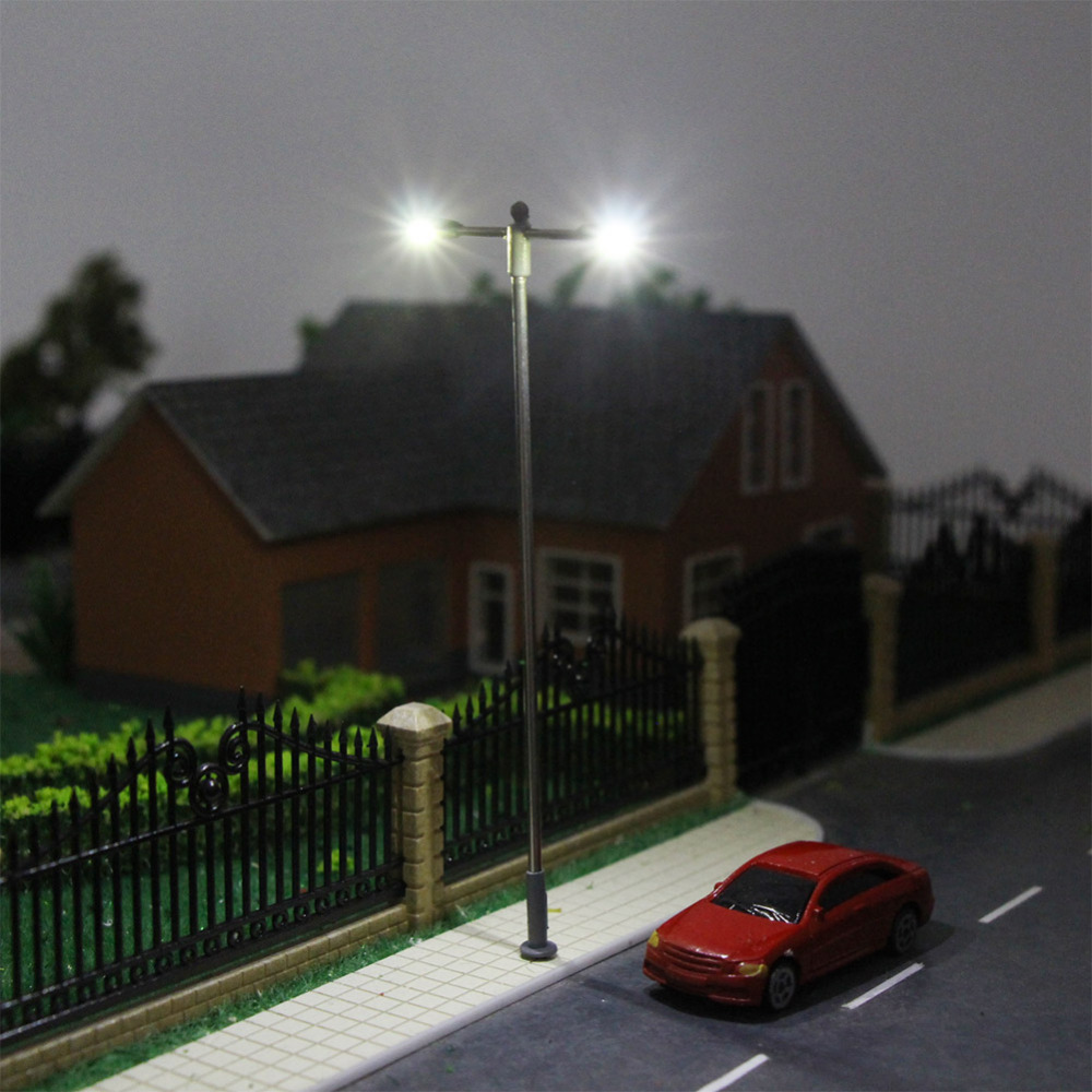 Image 4 - LQS12 10pcs Model Railway Train Lamp Post Two head Street Lights HO OO Scale LEDs NEW Miniature Layout White/WarmWhiteModel Building Kits   -