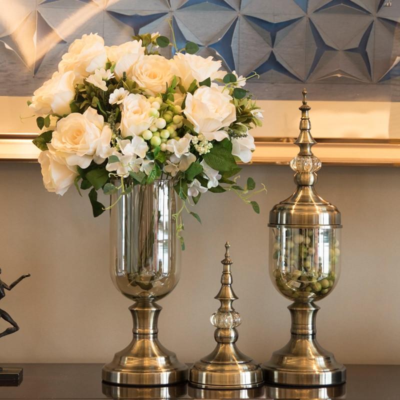 Современная стеклянная ваза, европейская Высококачественная стеклянная ваза для свадебного украшения, стеклянная Хрустальная настольная