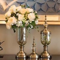 Modern Glass Vase Europe High end Glass Vase For Wedding Decoration Glass Crystal tabletop flower Vase Fashion Mix Alloy Vases