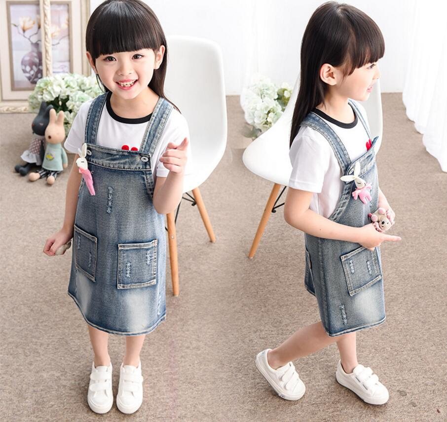 New Arrival  Spring Summer Baby Girls Denim Sundress Girls Suspender Denim Dress Kids Cute Rabbit-embroidery Sundress HB1222 2017 new arrival baby girls denim sundress girls fashion sundress kids suspender denim dress child casual sundress