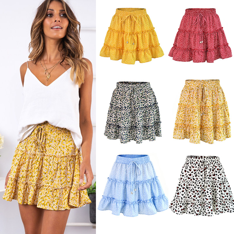 Women Skirts 2019 Floral Printed A-line Mini Skirts Cotton Ruffles Pleated Girls Skirts Beach Holidays Casual Skirts S-XXL