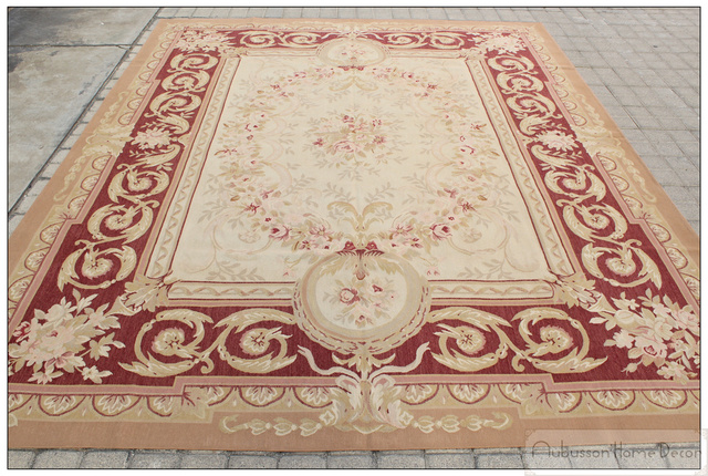 8 X10 Aubusson Castle French Area Rug Rust Antique Red Pink Wool Carpet New