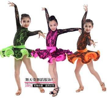 Adult Child Latin dance costume sexy lace long sleeves latin dance dress for Adult children latin dance dresses S-4XL фото