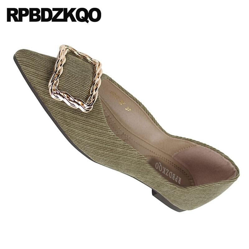 Dames Femmes Appartements Confortable Chic Vert Peu Designer Chaussures Profonde vert gris Belle Métal Chine Slip Pointu Chinois Sur Noir Bout Gris 2018 a65CwP