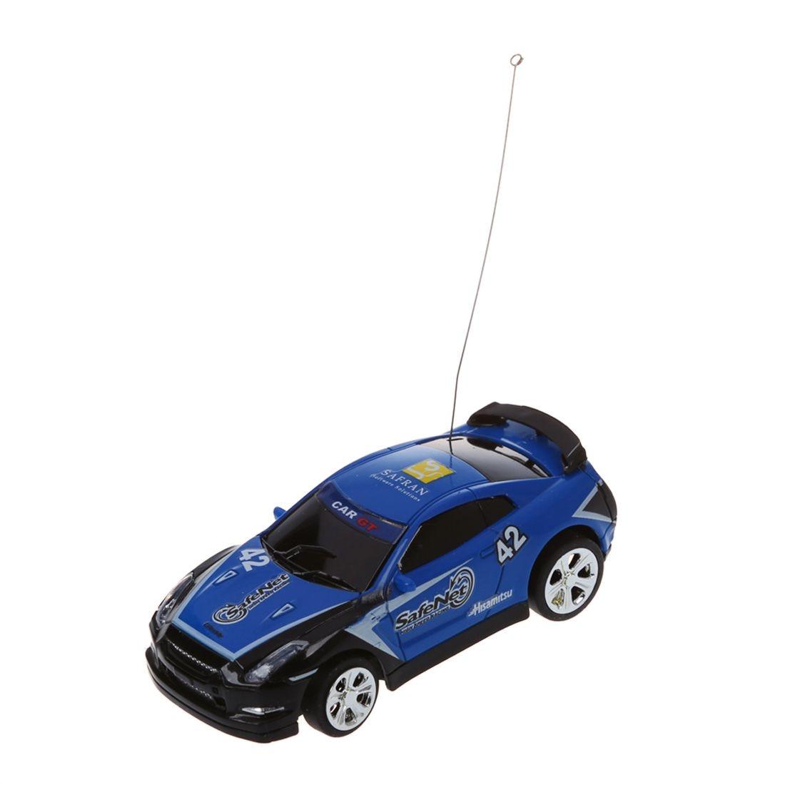 Mini Rc Remote Controlled Auto Racewagen Speelgoed In De Drank Kan 1:58 (blauw) Nieuwe Matige Prijs