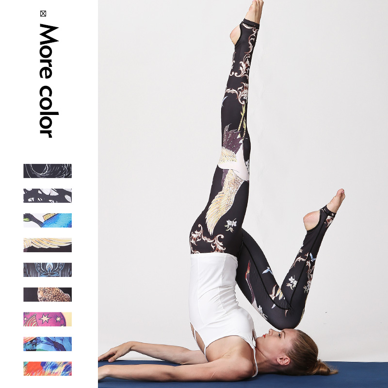 RXRXCOCO Women Fitness Yoga Leggings Crane Lotus Printed Sport Gym Yoga Pants Elastic Breathable Stretch Trouser Tights Running new yoga leggings women s white printed yoga pants running tights women s quick dry elastic gym jogging sport leggings