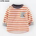 Little maven children brand clothing 2016 autumn fashion boy girls cotton long sleeve O-neck orange striped pocket t shirt CT052