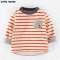 Pouco maven das crianças marca de roupas de outono 2016 moda das meninas do menino de algodão de manga longa o-pescoço orange camiseta bolso listrado ct052