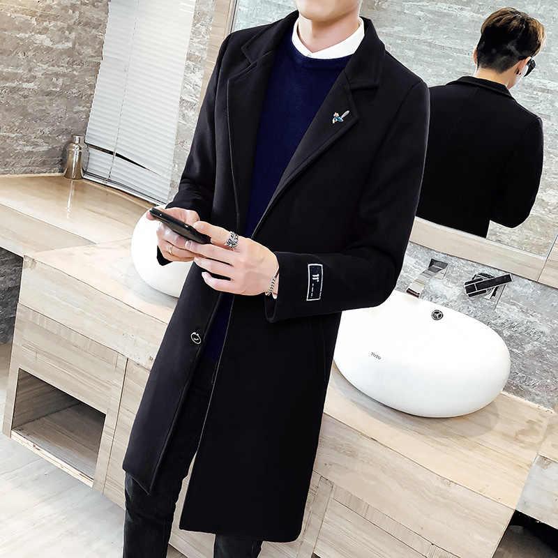 Herbst und winter einfarbig windjacke 2019 neue männer woolen mantel, 5XL große größe dünne mode für männer lange windjacke