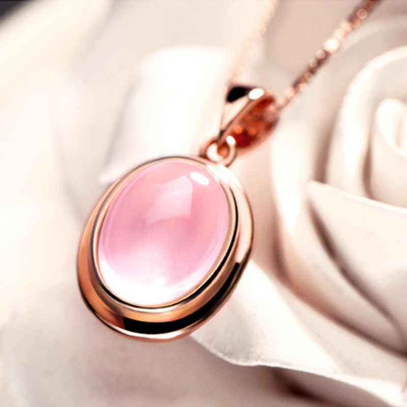 New Arrival Fashion Rose Gold Opals Stone 925 Sterling Silver Ladies Pendant Necklaces Jewellery For Women Short Box Chains Girl