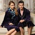 2016 Casais Pijamas Robe Amantes Sleepwear Coral Fleece Flanela Roupões Vestes Roupões de Banho Das Mulheres Dos Homens Espessamento Cáqui Roxo