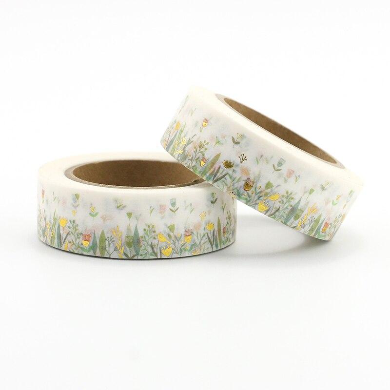 1PCS Colorful Foil Plants & Floral Washi Tape DIY Decoration Scrapbooking Planner Masking Tape Kawaii Stationery Adhesive Tape