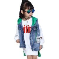 2018 Children waistcoat jean kids denim vest hooded patchwork baby girl denim vest children casual sleeveless cotton outerwear