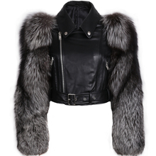 genuine leather jacket fur sleeve women real leather and fur jacket