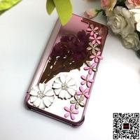 Per iPhone X Luxury Rhinestone Bling Del Diamante del Cuoio di Vibrazione Della Cassa Del Telefono Specchio per Apple iPhone 8 6 6 S 7 Più 5 Tazza di Vetro di Vino caso
