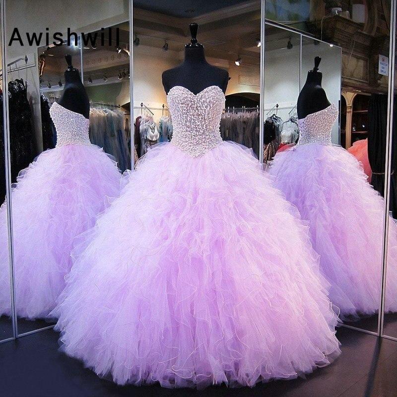 Nouvelles robes Quinceanera robe de bal chérie perles lourdes Tulle doux 16 robe couleur lavande robe de soirée